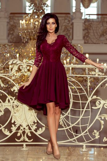 Krajkové společenské šaty s kolovou sukní