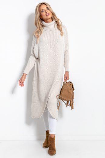 Dámský dlouhý svetr s vlnou a rolákem