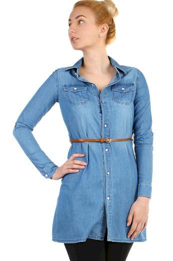 Dámská prodloužená džínová halenka i nadměrná velikost