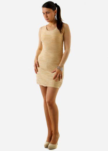 Vroubkované mini šaty s krajkou