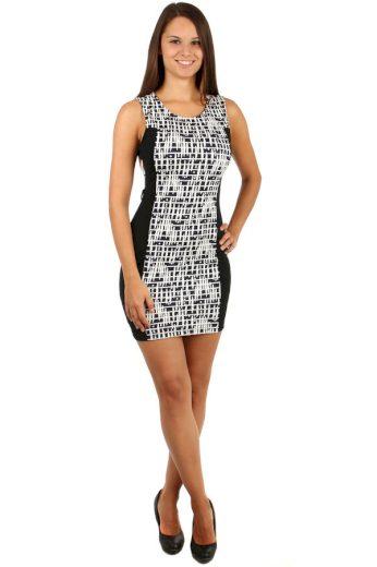 Elegantní šaty s moderním dvoubarevným vzorem