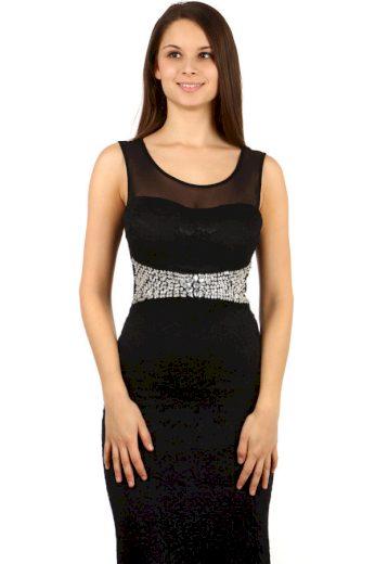 Dlouhé krajkové šaty s kamínky
