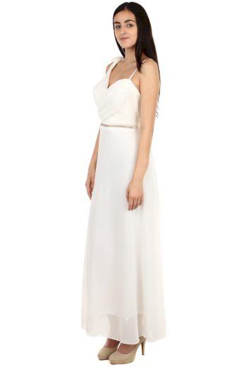 Dlouhé šaty se štrasovou ozdobou v pase