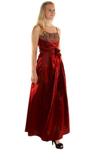 Dlouhé večerní šaty se zlatou výšivkou a květinovou aplikací
