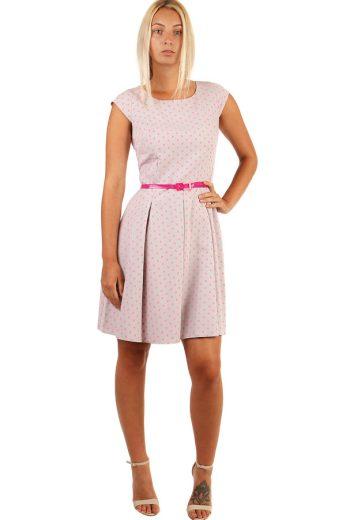 Puntíkované retro šaty s páskem-i pro plnoštíhlé