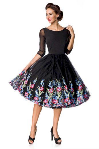 Společenské šaty s vyšívanou sukní