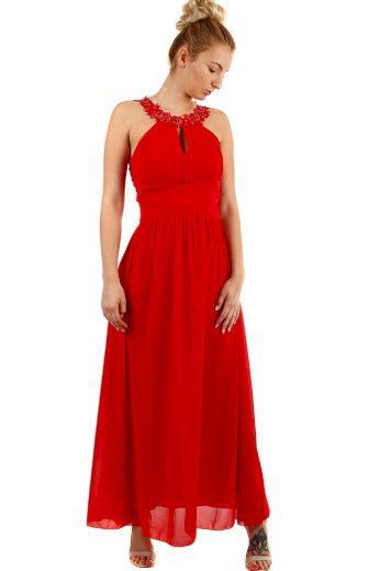 Dlouhé šifónové dámské šaty s průstřihem