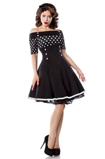 Retro šaty s výstřihem Carmen a puntíky