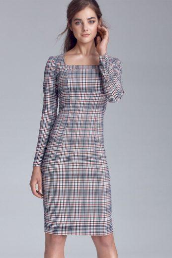 Pouzdrové dámské kárované šaty s dlouhým rukávem