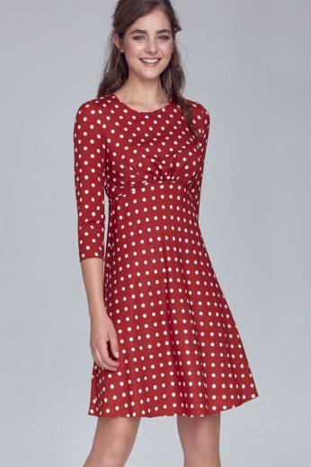 Áčkové dámské puntíkované šaty v retro vzhledu s 3/4 rukávem