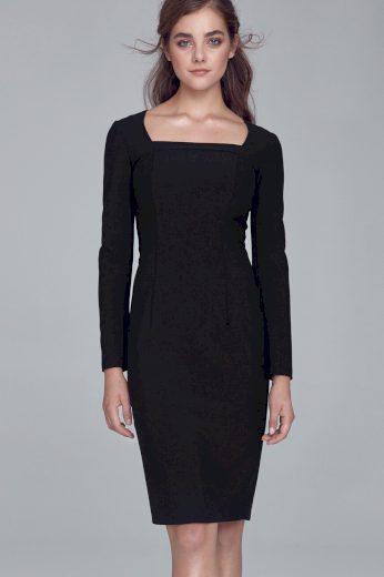 Pouzdrové dámské šaty s hranatým výstřihem