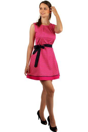 Bavlněné šaty s puntíky a páskem