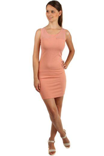Pouzdrové šaty s průhlednými rameny
