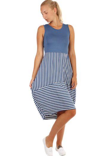 Letní plážové šaty s proužky a balonovou sukní