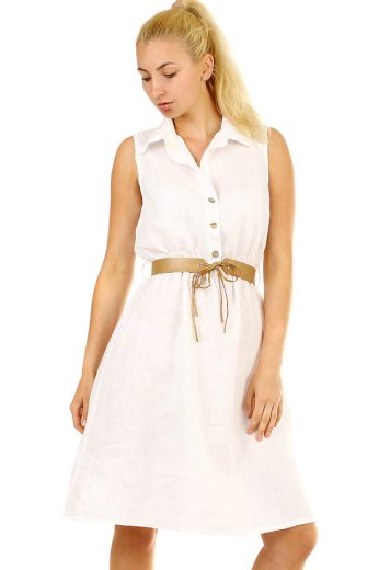 Lněné dámské letní šaty košilového střihu