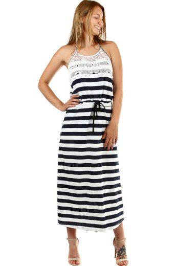 Plážové dlouhé proužkované šaty s krajkou
