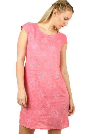 Lněné jednobarevné letní šaty s kapsami