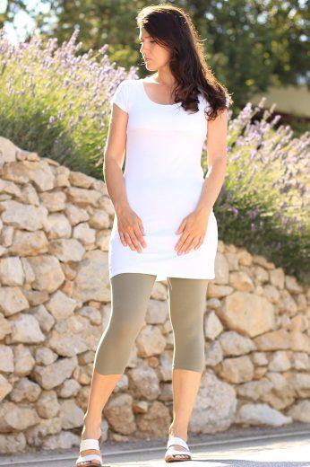 Dlouhé úzké bavlněné tričko s krátkým rukávem