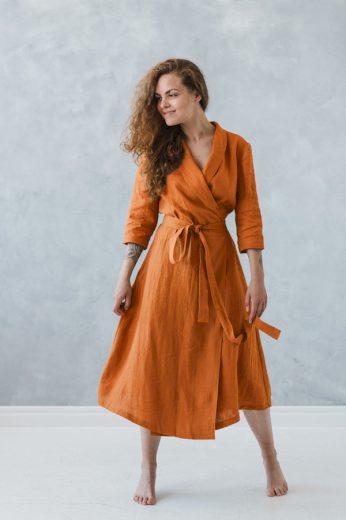 Lněné zavinovací maxi šaty s šálovým límcem