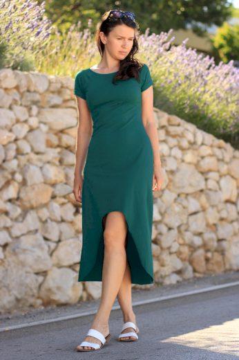 Jednobarevné dámské šaty s delší zadní části