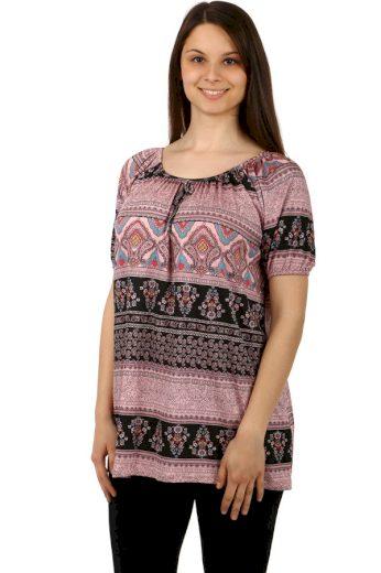 Volné tričko se vzorem - i pro plnoštíhlé