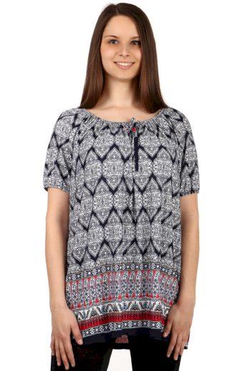 Dámské volné tričko se vzorem - pro plnoštíhlé