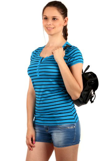 Dámské bavlněné tričko s pruhy