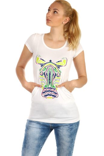 Prodloužené dámské triko s kapsami