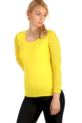 Jednobarevné tričko s krajkovými rukávy