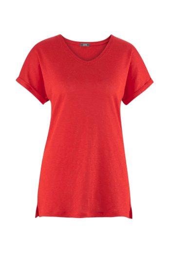 Lněné dámské tričko s véčkem