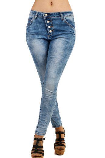 Dámské džíny s asymetrickým zapínáním