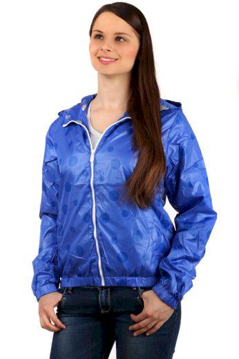 Dámská puntíkovaná bunda s kapucí