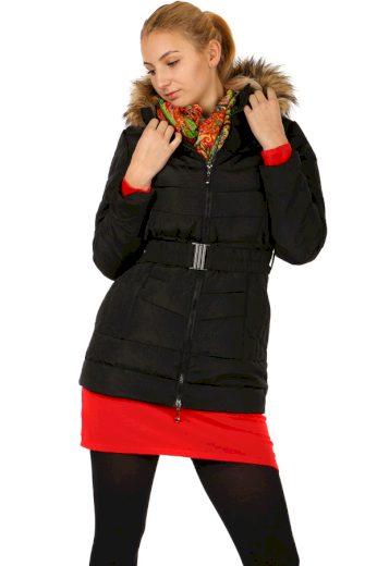 Dámská zimní bunda s kožíškem- i pro plnoštíhlé