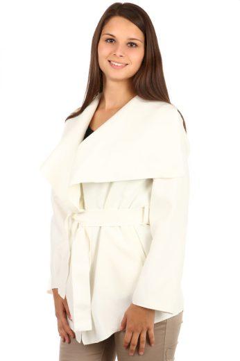 Krátký jednobarevný zavinovací dámský kabát