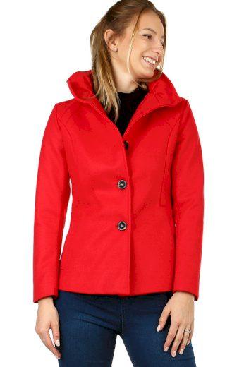 Dámský krátký flaušový kabát