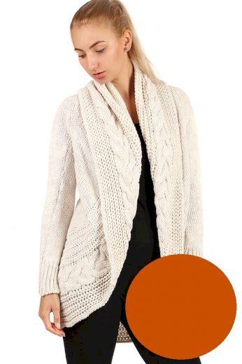 Dámský pletený jednobarevný kardigan bez zapínání