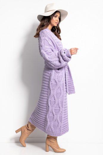 Pletený dlouhý kabát s vlnou