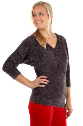 Dámský chlupatý svetr s 3/4 rukávy
