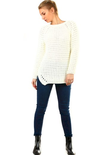 Dlouhý dámský pletený svetr