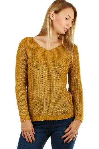 Dámský pletený svetr s průstřihy na zádech