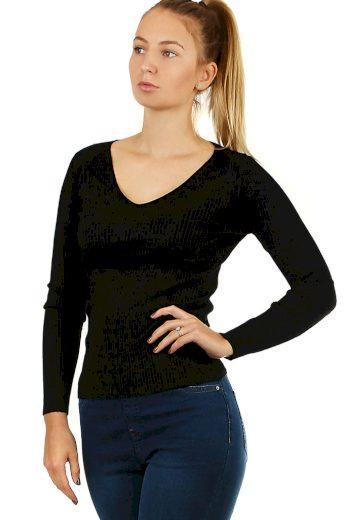 Dámský svetr s véčkovým výstřihem