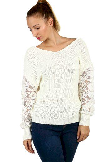 Jednobarevný svetr s véčkovým výstřihem na zádech