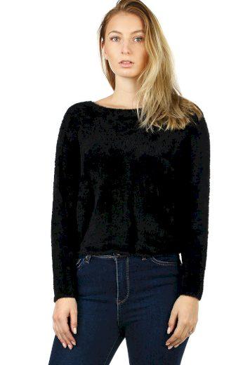 Jednobarevný chlupatý dámský svetr