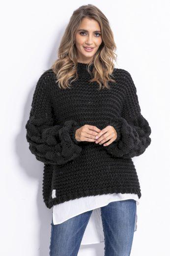 Dámský silný krátký svetr s vlnou