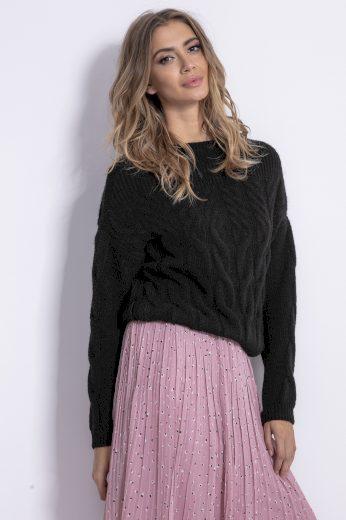 Mohérový svetr se vzorem copů