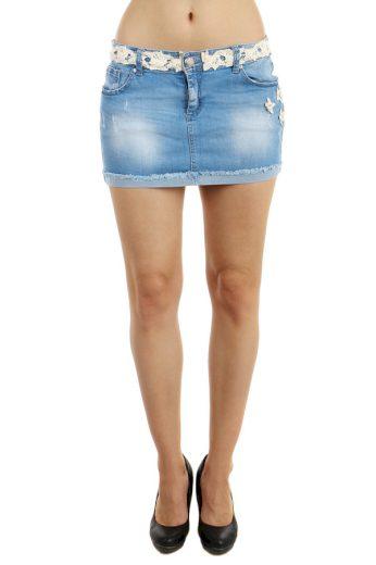 Dámská riflová sukně s aplikací