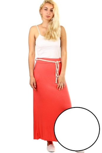 Dámská dlouhá jednobarevná sukně s kapsami a páskem