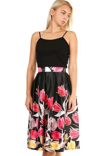 Saténová dámská áčková sukně s tulipánovým potiskem