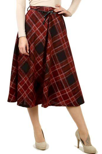 Károvaná áčková midi sukně