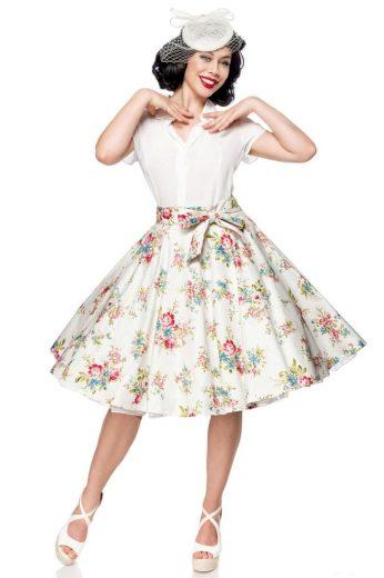 Retro dámská midi sukně s květinami